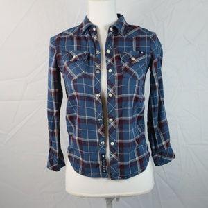 Lucky Brand Plaid Button Down Shirt Blue Sz Small